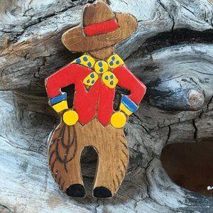 Vintage Wood Cowboy Pin Brooch